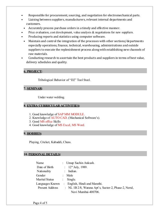 Purchase engineer resume examples