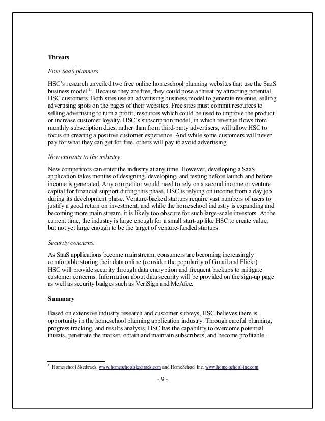 Homeschool Catalyst Business Plan - Saas business plan template