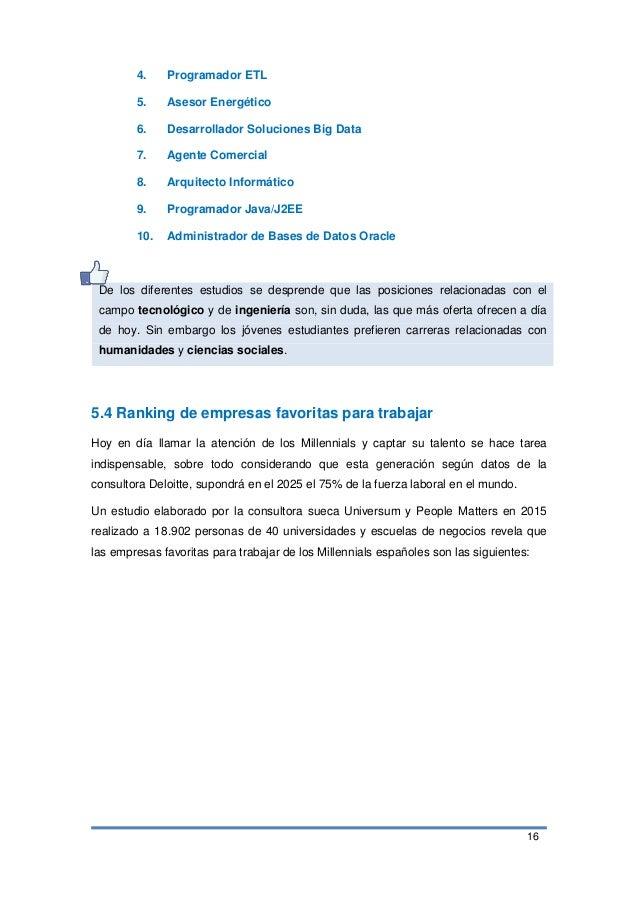 16 4. Programador ETL 5. Asesor Energético 6. Desarrollador Soluciones Big Data 7. Agente Comercial 8. Arquitecto Informát...