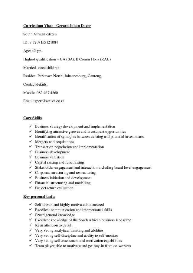abridged cv geert doyer