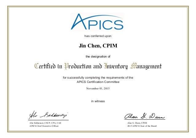 certification cpim apics slideshare certified upcoming