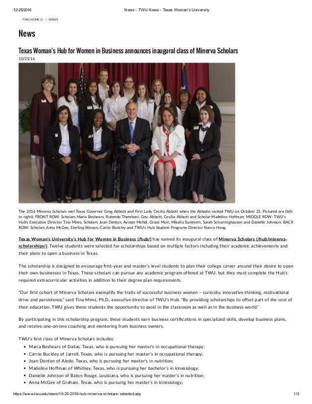 12/25/2016 News ­ TWU News ­ Texas Woman's University https://www.twu.edu/news/10­25­2016­hub­minerva­scholars­selected.as...