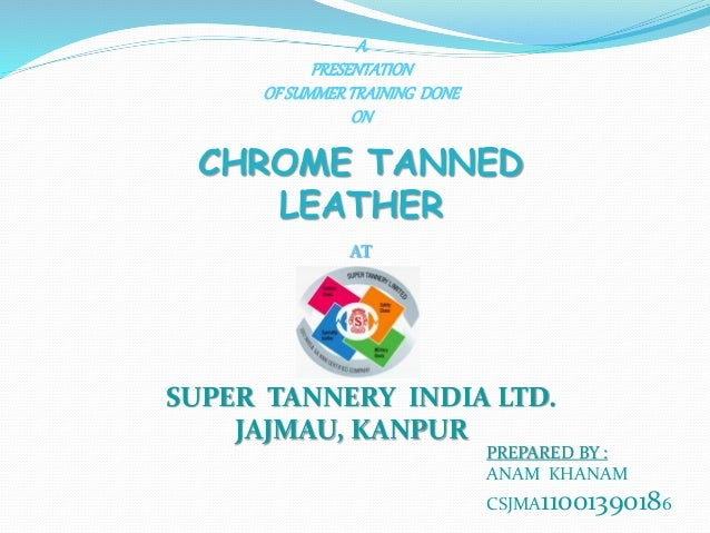 A PRESENTATION OFSUMMERTRAINING DONE ON CHROME TANNED LEATHER AT SUPER TANNERY INDIA LTD. JAJMAU, KANPUR PREPARED BY : ANA...