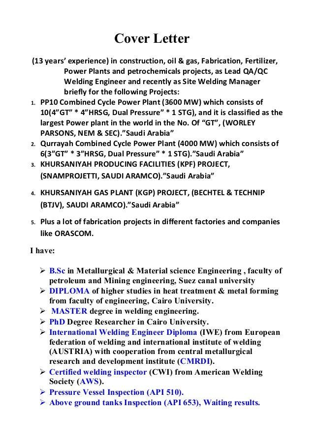 Cover Letter (13 Yearsu0027 Experience) In Construction, Oil U0026 Gas, Fabrication   NDT ...