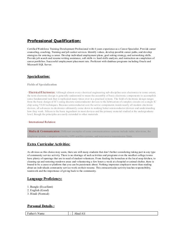 UN volunteer CV – Volunteer Resume