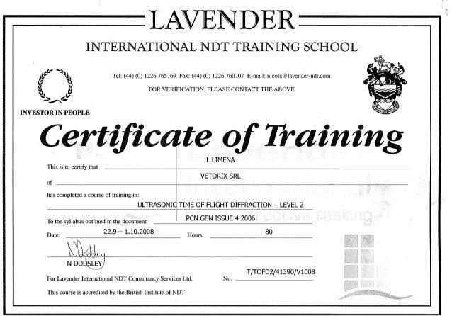 liv ii tofd certificate of training