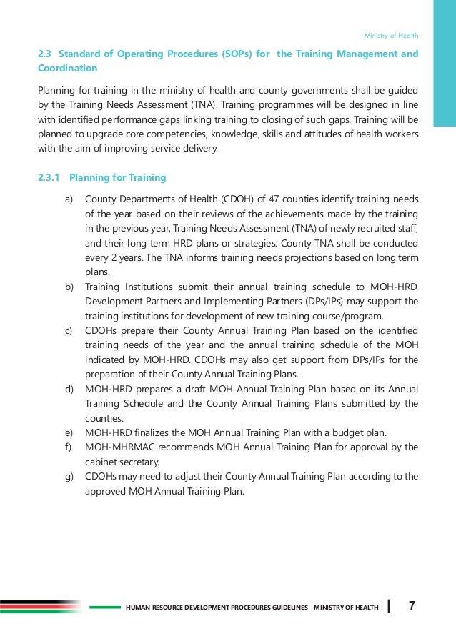 MOH Training Procedure Manual