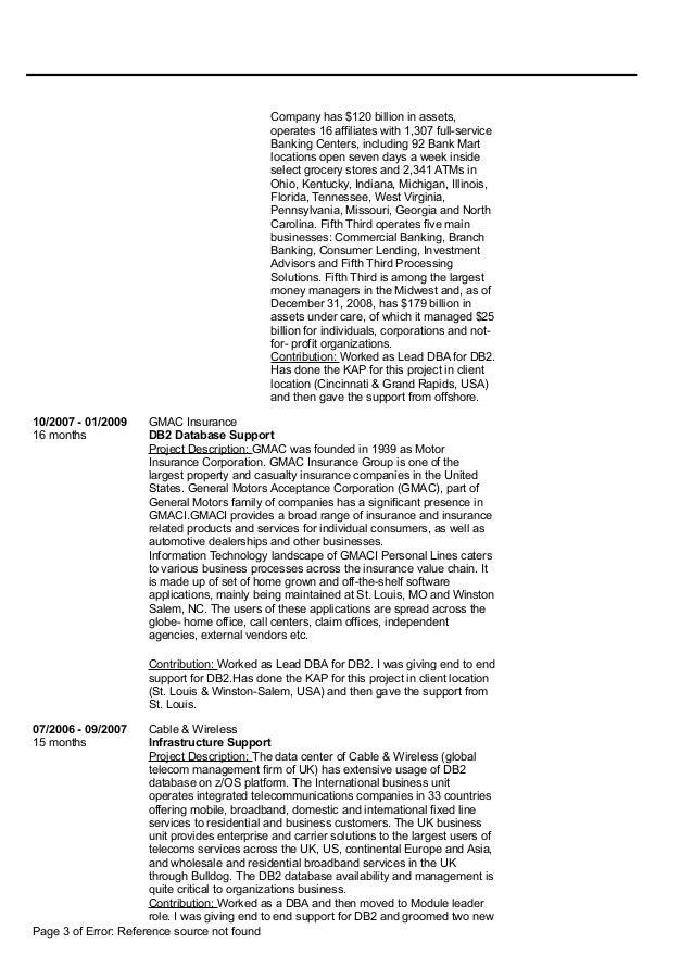 Resume DB2 DBA mainframe