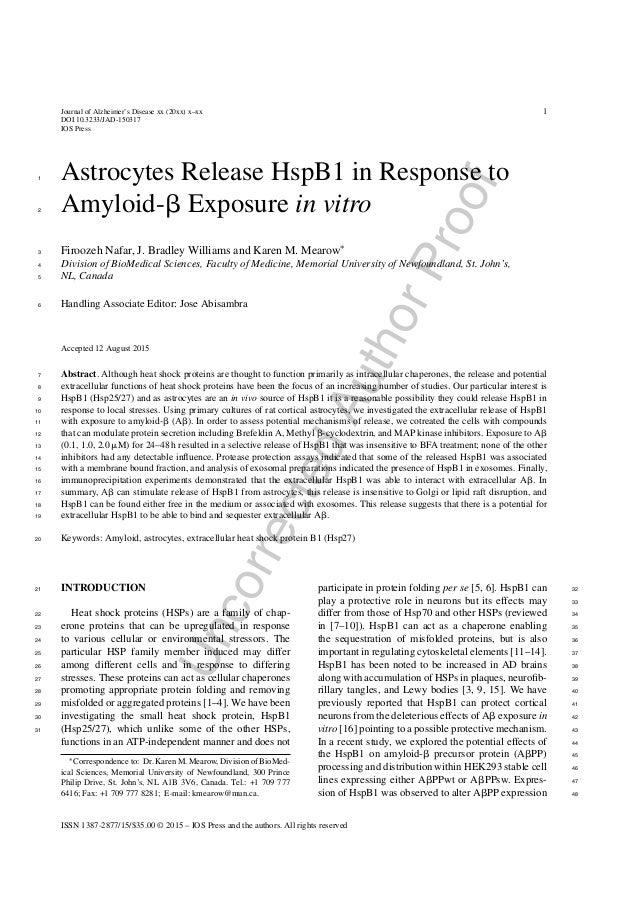 UncorrectedAuthorProof Journal of Alzheimer's Disease xx (20xx) x–xx DOI 10.3233/JAD-150317 IOS Press 1 Astrocytes Release...