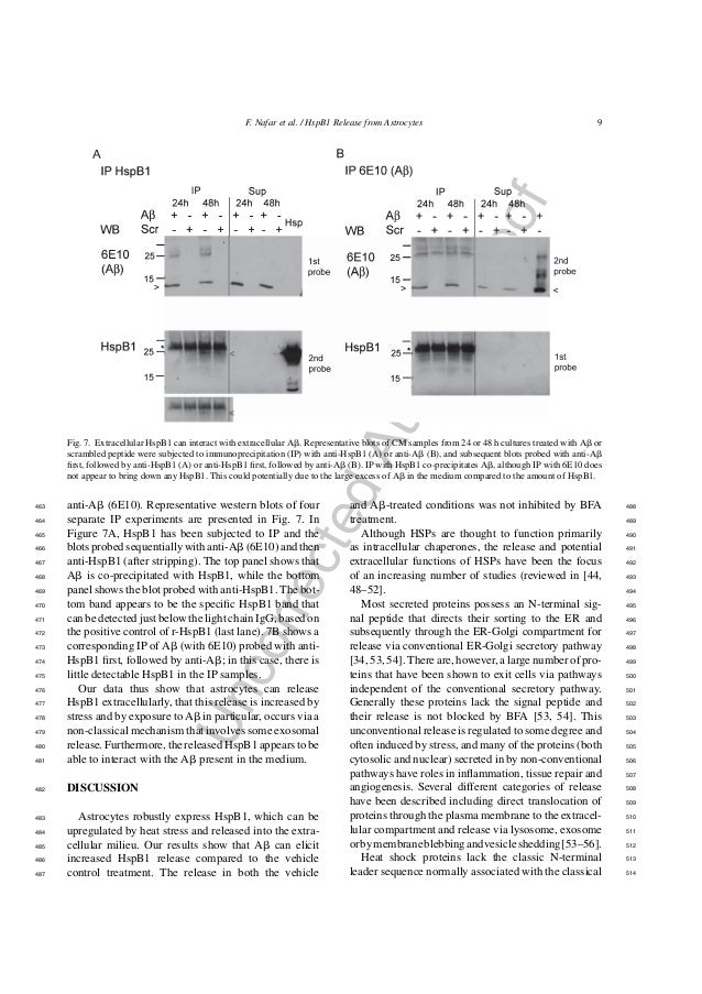 UncorrectedAuthorProof F. Nafar et al. / HspB1 Release from Astrocytes 9 Fig. 7. Extracellular HspB1 can interact with ext...