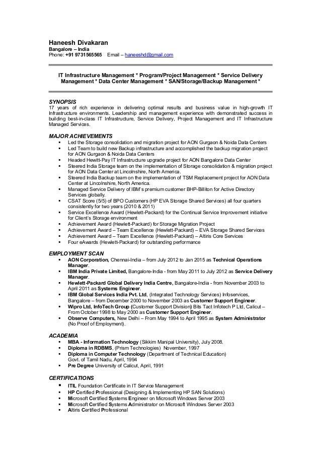 Haneesh Divakaran Bangalore – India Phone: +91 9731565565 Email – haneeshd@gmail.com IT Infrastructure Management * Progra...