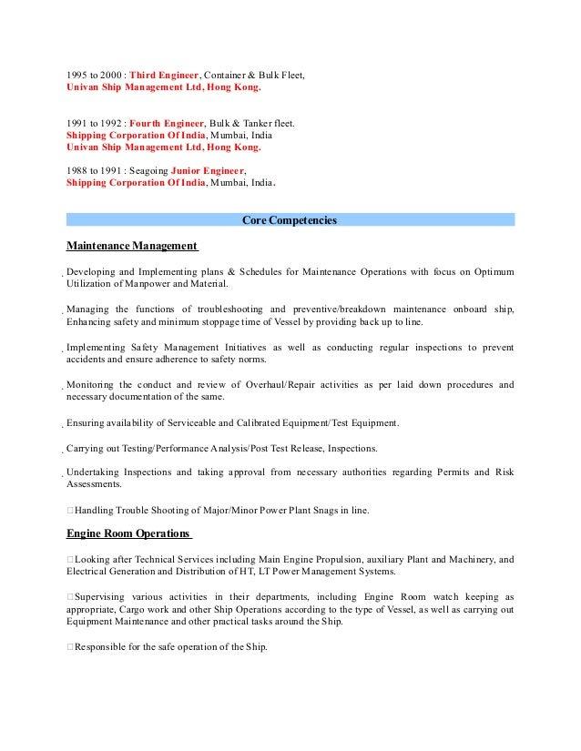 Marine Engineer CV - Fleet engineer resume
