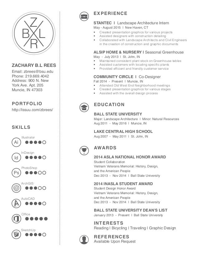 Beautiful 2016 Landscape Architecture Resume: Zachary B.L. Rees. SKILLS ZACHARY B.L  REES Email: Zbrees@bsu.edu Phone: 219.669.4042 Regarding Landscape Architect Resume