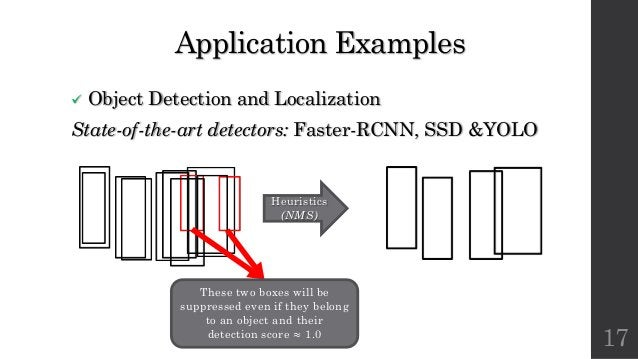 Application Examples ü Object Detection and Localization State-of-the-art detectors: Faster-RCNN, SSD &YOLO 17 Heuristics ...