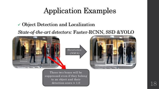 Application Examples ü Object Detection and Localization State-of-the-art detectors: Faster-RCNN, SSD &YOLO 18 Heuristics ...