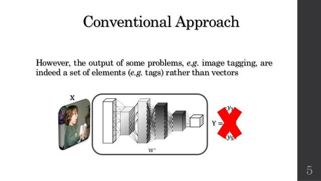 Conventional Approach However, the output of some problems, e.g. image tagging, are indeed a set of elements (e.g. tags) r...