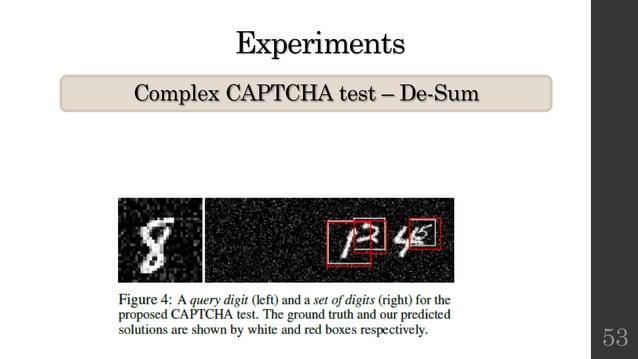 Experiments Complex CAPTCHA test – De-Sum 53