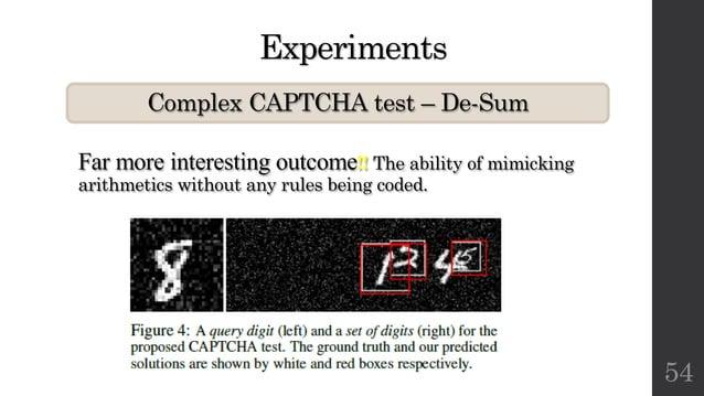 Experiments Complex CAPTCHA test – De-Sum 54 Far more interesting outcome!! The ability of mimicking arithmetics without a...