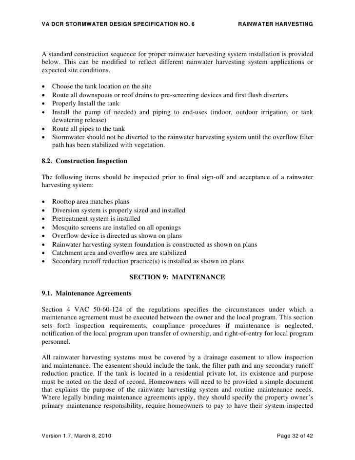 Rainwater Harvesting: DCR Stormwater Design Specification
