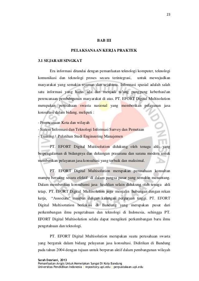 23 Sarah Desriani, 2013 Pemanfaatan Arcgis Untuk Memetakan Sungai Di Kota Bandung Universitas Pendidikan Indonesia | repos...