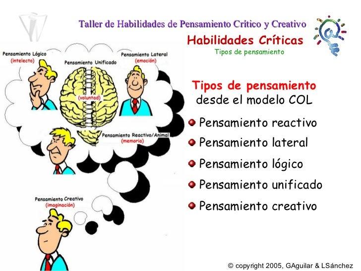 Tipos de pensamiento   desde el modelo COL <ul><li>Pensamiento lateral </li></ul><ul><li>Pensamiento lógico </li></ul><ul>...