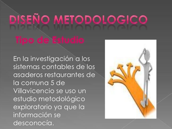 Tipo de EstudioEn la investigación a lossistemas contables de losasaderos restaurantes dela comuna 5 deVillavicencio se us...