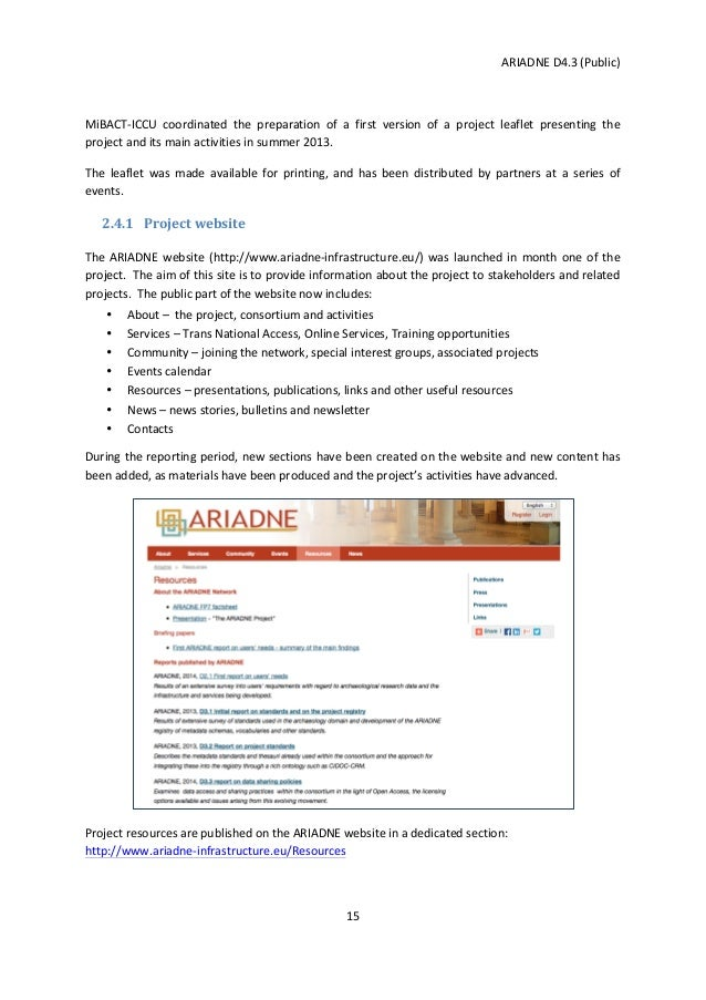 dissemination plan template - ariadne first period dissemination report and second