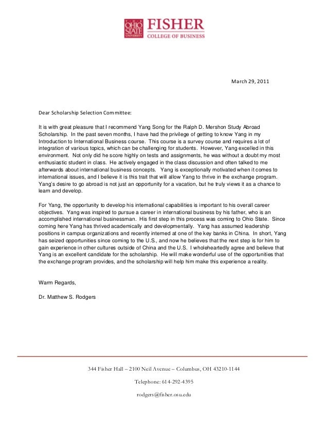 letter of recommendation samples ralph d mershon study abroad scholarship recommendation 3174