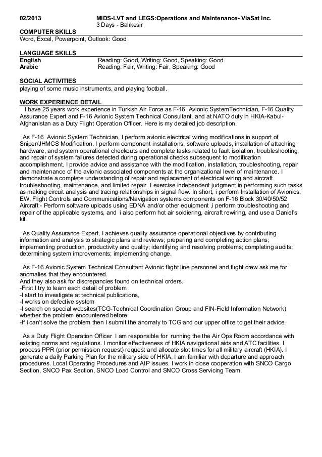 uopak resume 31_10_16 - Avionics Technician Job Description