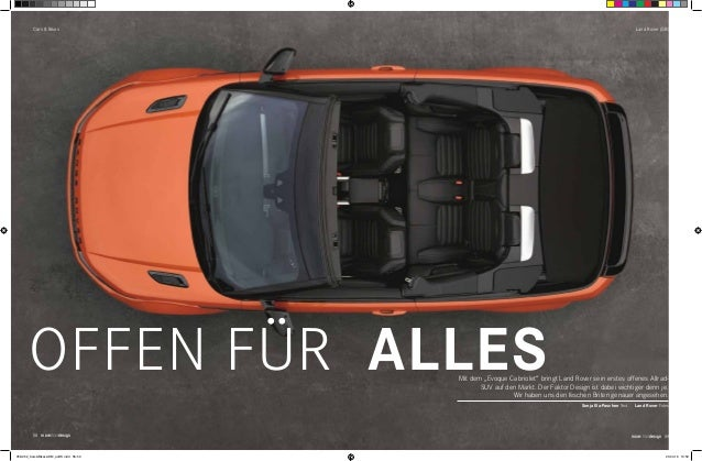 """Cars & Bikes 58 morethandesign Land Rover (GB) Mit dem """"Evoque Cabriolet"""" bringt Land Rover sein erstes offenes Allrad- SU..."""