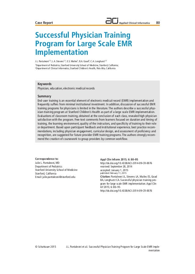 Successful Physician Training Program for Large Scale EHR