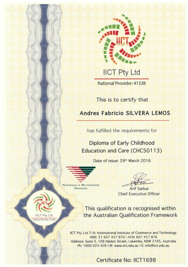Certificate - Diploma of Early childhood education and care