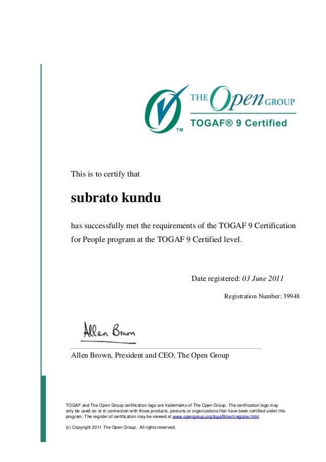 togaf certification foundation level slideshare kundu upcoming
