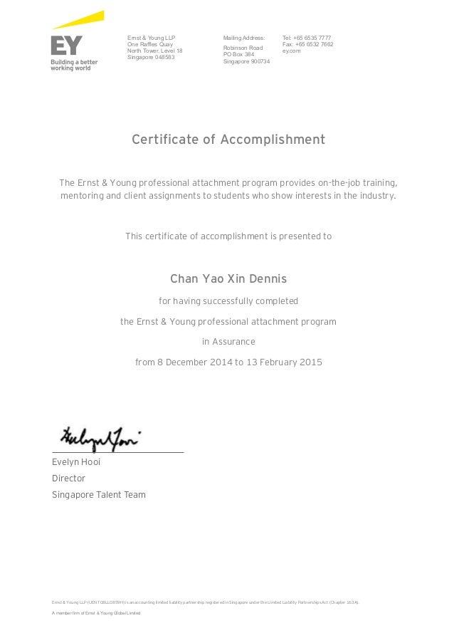 Certificate Of Accomplishment Ey Chan Yao Xin Dennis