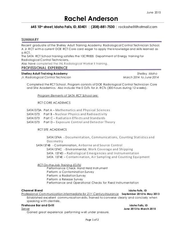 rad con doe resume