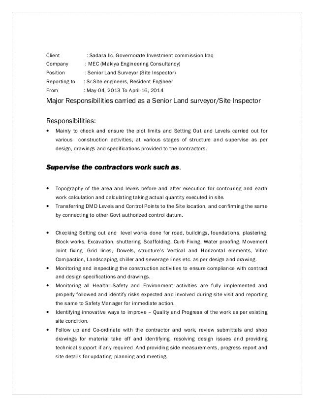 Resume Land Surveyor Sample Cover Letter For Quantity Survey Technician Samples Surveying Examples