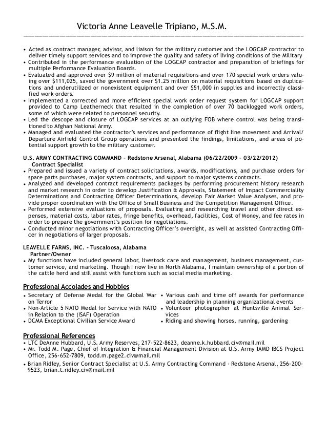 government contract specialist resumes