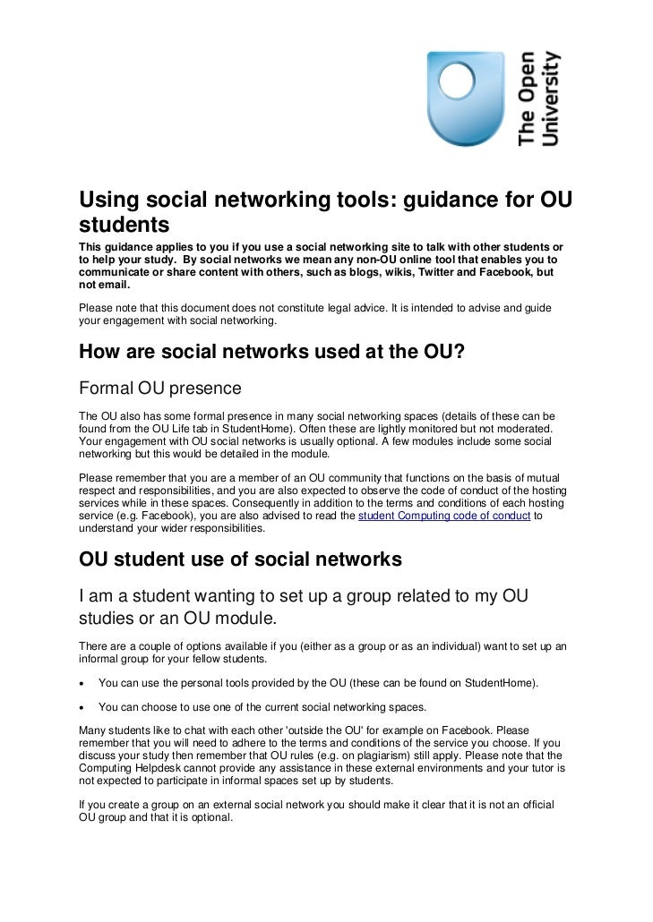 Using social networking tools: guidance for OUstudentsThis guidance applies to you if you use a social networking site to ...
