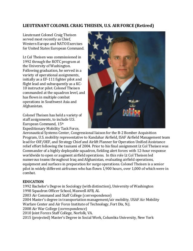 Theisen military bio for Military biography template