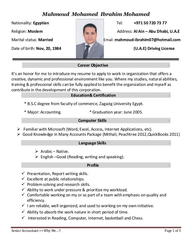 Senior Accountant U003eu003e Why Me .. !! Page 1 Of 3 Mahmoud Mohamed ...  Resume Me