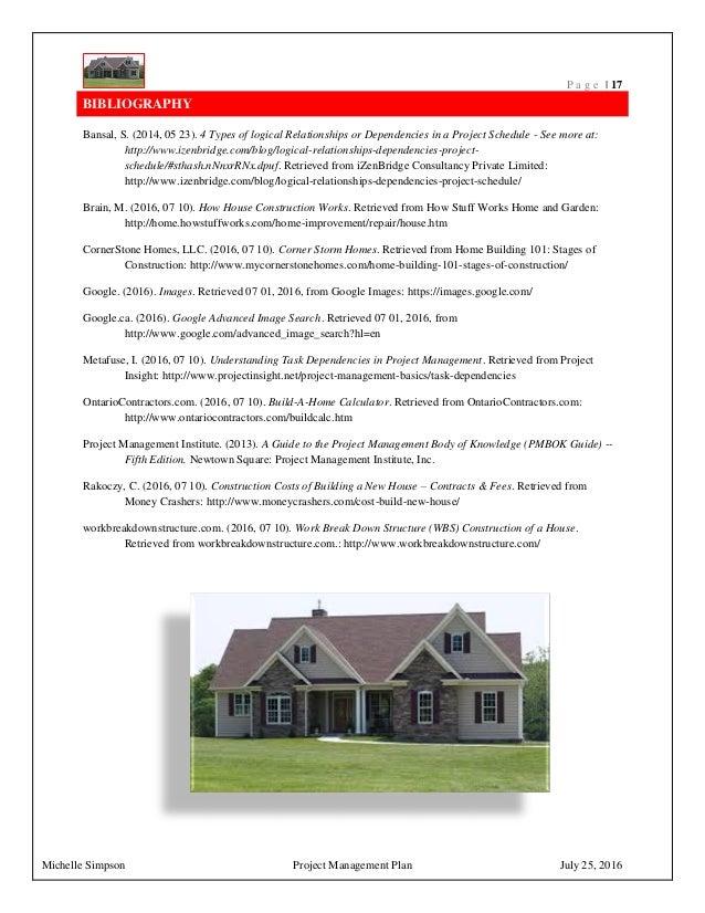 Project management plan house construction