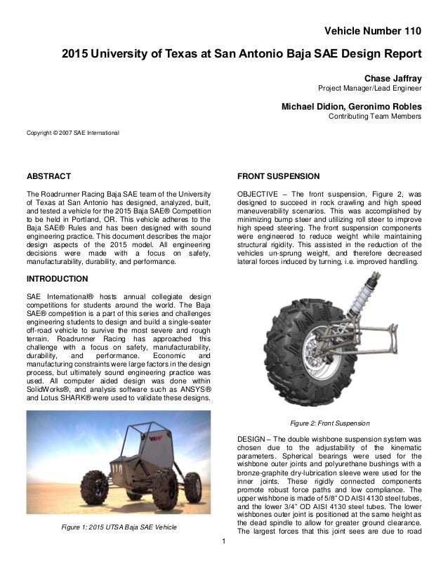 2015 UTSA Baja SAE Design Report