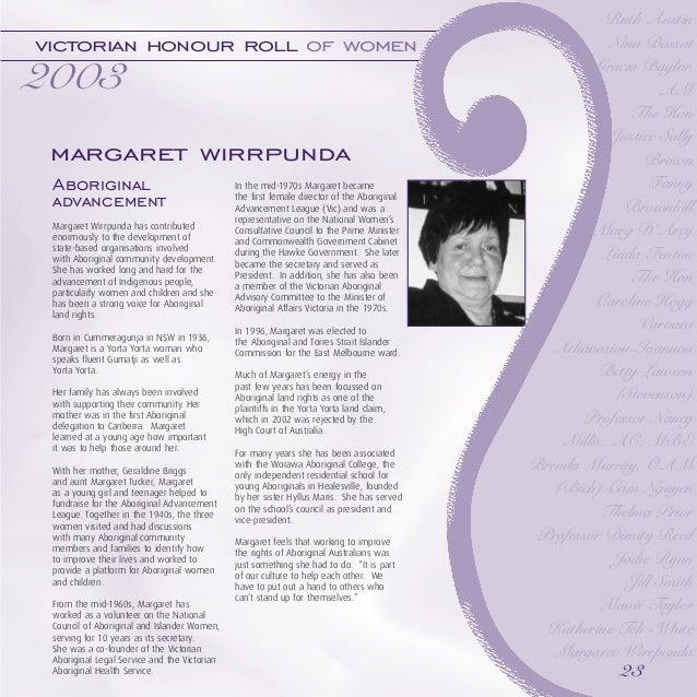 Victorian Honour Roll Of Women 2003 Commemorative Booklet