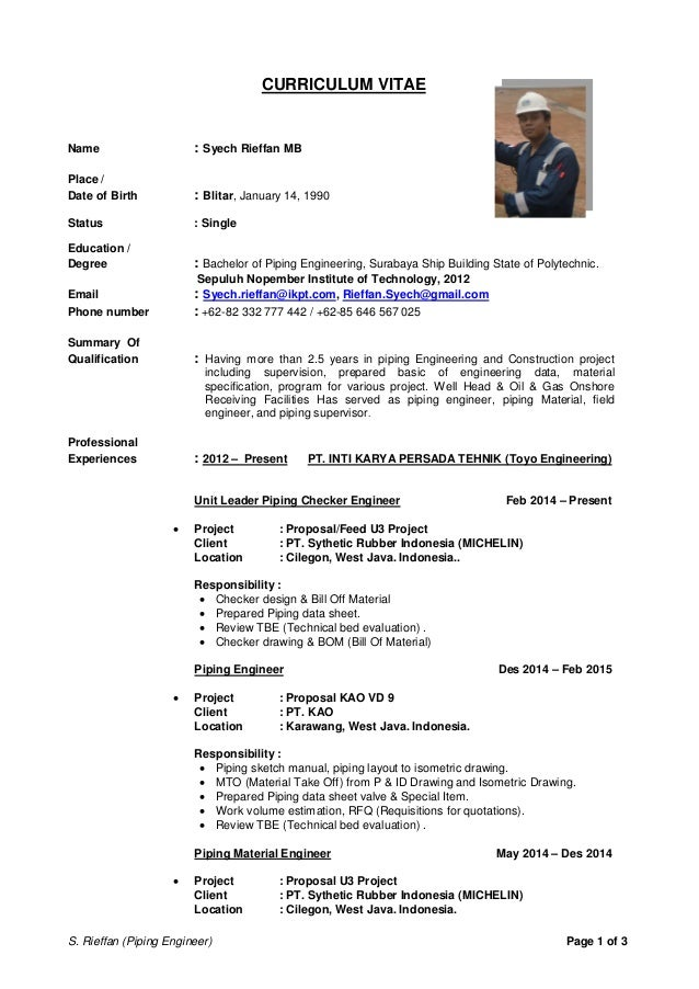 piping engineer cv - Ecza.solinf.co