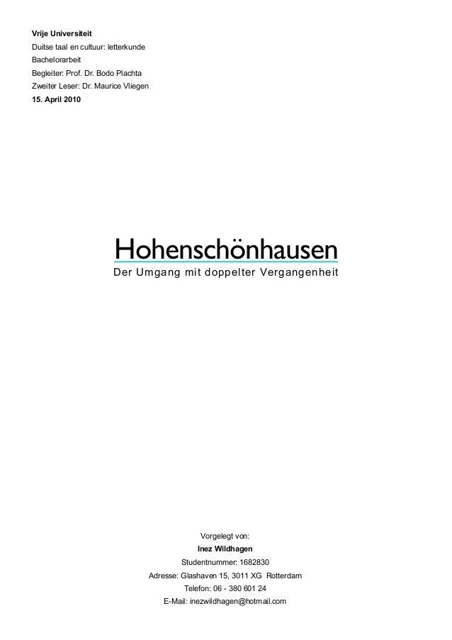 Hohenschönhausen Der Umgang mit doppelter Vergangenheit Vrije Universiteit Duitse taal en cultuur: letterkunde Bachelorarb...