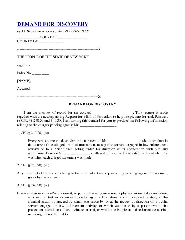 DEMAND FOR DISCOVERYby J J. Sebastian Attorney , 2013-03-29 06:10:58____________ COURT OF ________________COUNTY OF ______...
