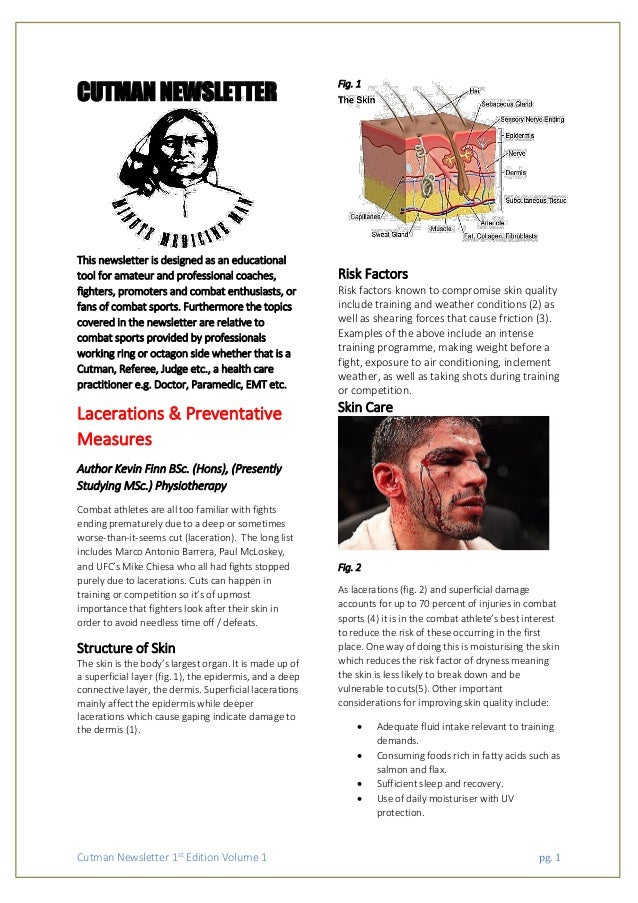 Cutman Newsletter 1st Edition Volume 1 pg. 1 CUTMAN NEWSLETTER This newsletter is designed as an educational tool for amat...