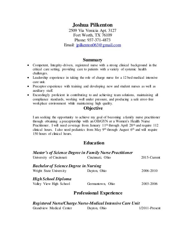 Resume for graduate program admission