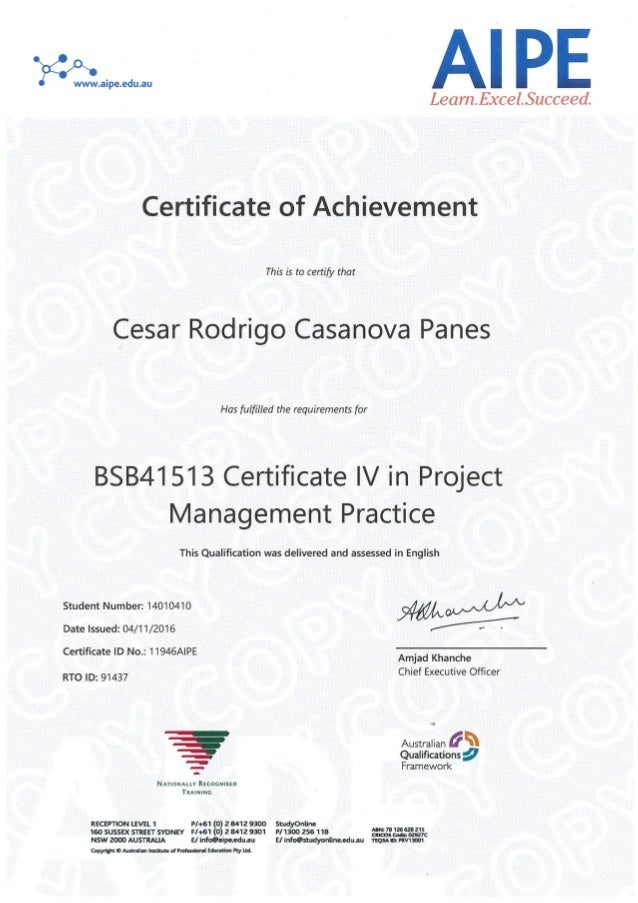 Certificate Iv In Project Management Certification Of Achievement A