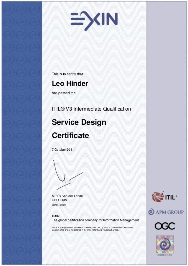 Certificate Itv3sd Itil V3 Service Design